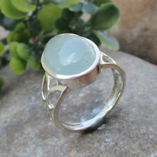 Aqua Chalcedony Gemstone Sterling Solid Silver Ring Handmade - ALL SIZES