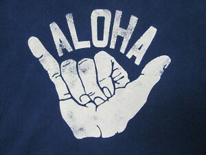 Gap Aloha Shaka Hang Loose Tee Shirt Size Large Navy Blue - PREOWNED