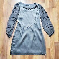 CC Couture Gray Silk Balloon Sleeve Dress / Size XS