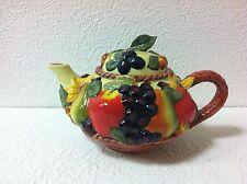 "Burton & Burton Fib Gorgeous Ceramic Harvest Fall/Fruit 9 3/4"" Wide Teapot New"