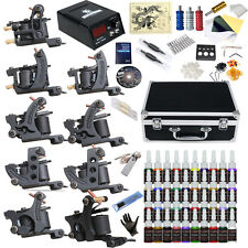 Complete Tattoo Kit 9 Top Machine Gun 40 Color Ink Power Supply Needle Tube Case