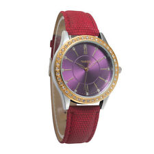 Noblag Mademoiselle Luxury Women's Watches Purple Dial Red Leather Strap