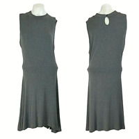 New York & Co Womens Dress XL Gray Super Soft Viscose Sleeveless Keyhole A-Line
