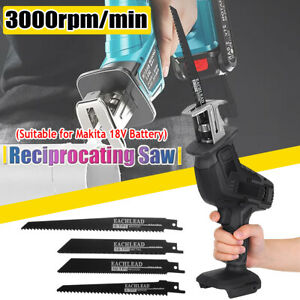 Electric Reciprocating Saw 4 Blades Wood Metal Cutting Recip Hand Held Cordless