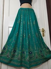UK Ladies Party Boho Gypsy Hippie Long Sequin Skirt 8 10 12 14 16 18 20 22 24