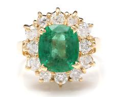 5.30 Carats Natural Emerald & Diamond 14K Solid Yellow Gold Ring