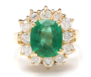 5.30 Carats Natural Emerald & Diamond 14K Solid Yellow Gold Ring