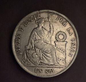 1865 PERU Un SOL Silver