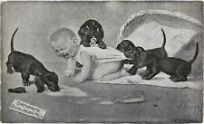 Dogs, Dachshund Puppies with a Crying Baby, Signo: Roeseler, Old Postcard