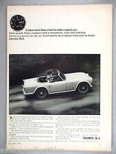 Triumph TR-4 Convertible PRINT AD - 1964