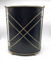 Vintage Ransburg Black Metal Matte Trash Can Wastepaper Atomic Liner Brass Tone