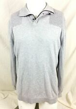 Mossimo Mens Sweater XL Gray Polo Zipper Neck Snap Collar Ribbed Shoulders Wool