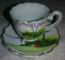 Vintage FINE BONE CHINA Miniature TEA CUP & SAUCER MADE IN Japan Hand Painted