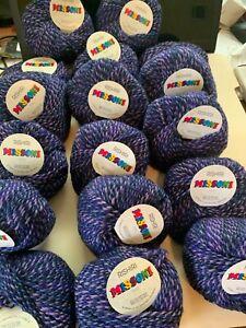 SEVENTEEN balls - Rare MISSONI RISHIRI - beautiful blue/purple yarn - 850 grams!