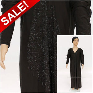 Girls Islamic Black Jilbab Abaya with Swarovski Studs Masjid Dress Sizes 34 - 48
