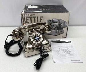 NEW Pottery Barn Crosley Kettle Classic Desk Phone~Brushed Chrome~*Read*