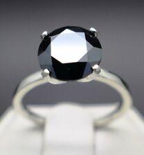 Diamond Black Round Ring Solitaire Engagement Anniversary Certified 3.15 Ct 925