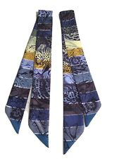 Hermes Paris Scarf Silk Twilly Butterfly Blue Black Yellow Green 5x86cm