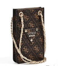 NWT GUESS Chit Chat Quatro G Logo Crossbody Phone holder Handbag Purse Brown