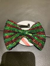 Nwt Justice Girls Big Bow Green Red Christmas Holidays Hair Barrette