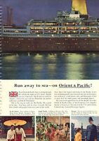 1960 Orient & Pacific PRINT AD Lines Cruise Ship Great Vintage Decor