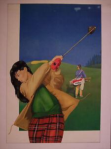WILZER GOLF bozzetto pubblicitario originale a tempera - golf, sport, pubblicità