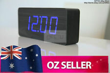 Wooden wood Digital LED Alarm Clock for Home Office - Black Brown with Blue LED
