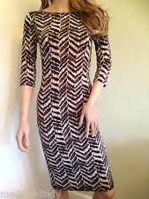 Bodycon pencil  Midi Dress s/m m/l Brown & Cream 3/4 sleeves