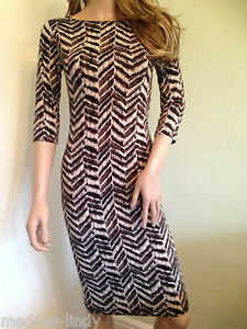 Bodycon pencil  Midi Dress s/m m/l Brown & Cream 3/4 sleeves