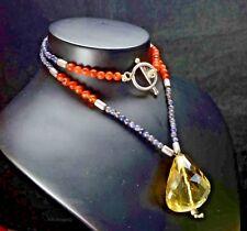 "N-0555 Carnelian Gemstones Natural Designer Quartz Beads Vermiel 17"" Necklace $"