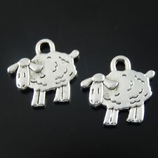 Vintage Silver Alloy Cute Sheep Shape Charms Pendant Jewelry Finding 60pcs 38933