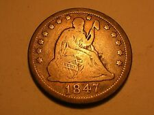 1847 Seated Liberty Quarter (Scarcer, MPD, 8 in Rock, & Attractive)