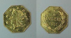 1857 Liberty Head Octagon Cal California Gold Coin 25 Cent BU BG-1301-A