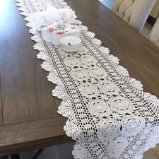 White Vintage Hand Crochet Lace Doily Oval Cotton Table Runner Mats 40x200cm