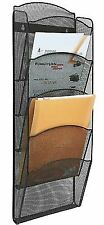 Greenco Mesh 5 Slot Wall Mounted Magazine Rack Holder Black