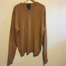 100% Cashmere V-Neck Pullover Sweater~Men's~Tan~L