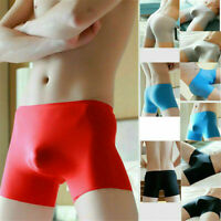 Ice Silk Ultra-thin Men Sexy Soft Underwear Boxer Briefs Seamless Pouch Panties