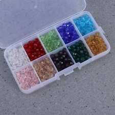 300X 10 Colors 8mm Briolette Crystal Glass Beads Jewellery Making Craft W/ Box