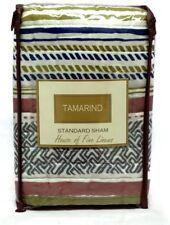 Sunham Tamarind Quilted Standard Sham Blue Green Tan Striped