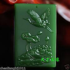 Exquisite China natural green jade hand carved pendant-Lotus crane
