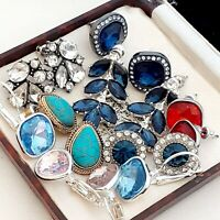 Job Lot Vintage Style 8 Pairs of Quality Pierced Earrings - Blue Red Pink #6