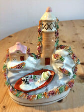 Rare Antique Staffordshire Grace Darling Rowing Boat with Lighthouse Figurine