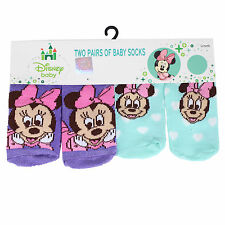 "Licensed Disney - 2 Pairs ""Minnie Mouse"" Baby Socks - 0-6 Mths"