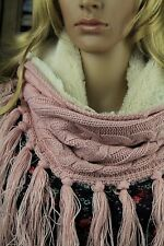 Pink Snood Infinity Scarf with Crème Fleece Lining Cable Knit and Fringe Tassels