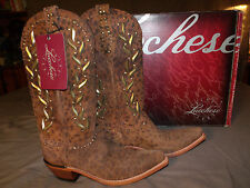 LUCCHESE M4622.S54 Womens Sexy CAMEL CHEETAH Studded Boots Size 7.5B