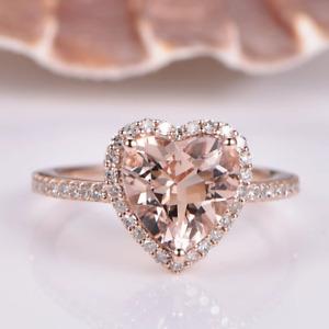 3.50CT Cushion Morganite Diamond Halo Anniversary Ring 14K Rose Gold Finish