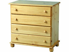 Solid Pine Chest of 4 Drawers with Bun Feet - Hampshire Sol Antique Pine Range