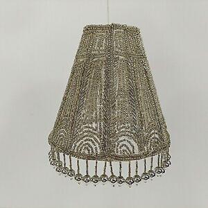 "Art Deco Style Silver Beaded Candelabra Lamp Shade Empire Flame Clip 5.5"" NWT"