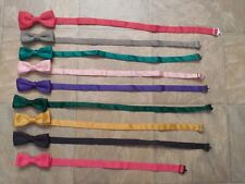 Mens Vintage Lot Of 9 Adjustable BOW TIES Brightly Colored SATIN No Doubles VGC