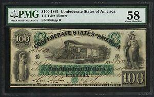 CSA #T-5 $100 1861 SERIES TYLER / ELMORE PMG 58 CHOICE AU CV $5,000 WLM3670